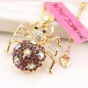 New Betesy Johnson Bling spider necklace